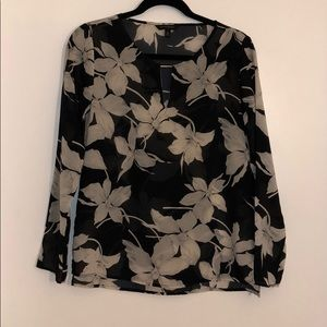 Banana Republic floral silk blouse